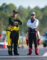 Sep 26, 2020; Gainesville, Florida, USA; NHRA top fuel driver Shawn Langdon (left) and Steve Torrence during qualifying for the Gatornationals at Gainesville Raceway. Mandatory Credit: Mark J. Rebilas-USA TODAY Sports