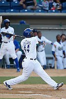Chris Jacobs #44 of the Rancho Cucamonga Quakes bats against the Stockton Ports at LoanMart Field on June 13, 2013 in Rancho Cucamonga, California. Stockton defeated Rancho Cucamonga, 8-4. (Larry Goren/Four Seam Images)
