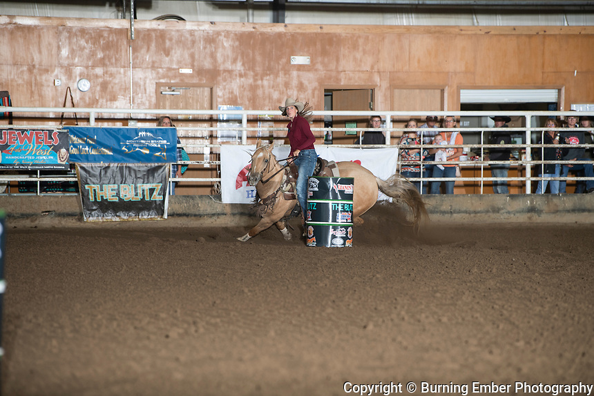 Molly Otto on Teasin Dat Guy at the Blitz Barrel Race September19th 2020  Photo by Josh Homer/Burning Ember Photography.  Photo credit must be given on all uses.