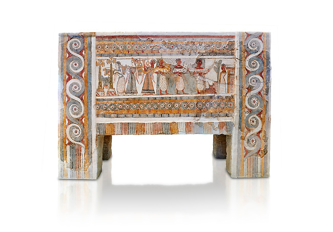 The painted Minoan Hagia Triada Sarcophagus 1370-1300 BC. Heraklion Archaeological Museum.<br /> <br /> The limestone Hagia Triada Sarcophagus is painted with frescoes depicting the ceremonies honouring the dead.   White Background.