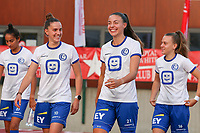 Chloe Vande Velde (10) of KAA Gent and Silke Vanwynsberghe (21) of KAA Gent pictured before a female soccer game between FC Femina White Star Woluwe and KAA Gent Ladies on the third match day in the 2021 - 2022 season of Belgian Scooore Womens Super League , Friday 3 th of September 2021  in Woluwe , Belgium . PHOTO SPORTPIX   SEVIL OKTEM