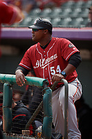 Altoona Curve coach Salvador Paniagua (54) during an Eastern League game against the Erie SeaWolves and on June 4, 2019 at UPMC Park in Erie, Pennsylvania.  Altoona defeated Erie 3-0.  (Mike Janes/Four Seam Images)