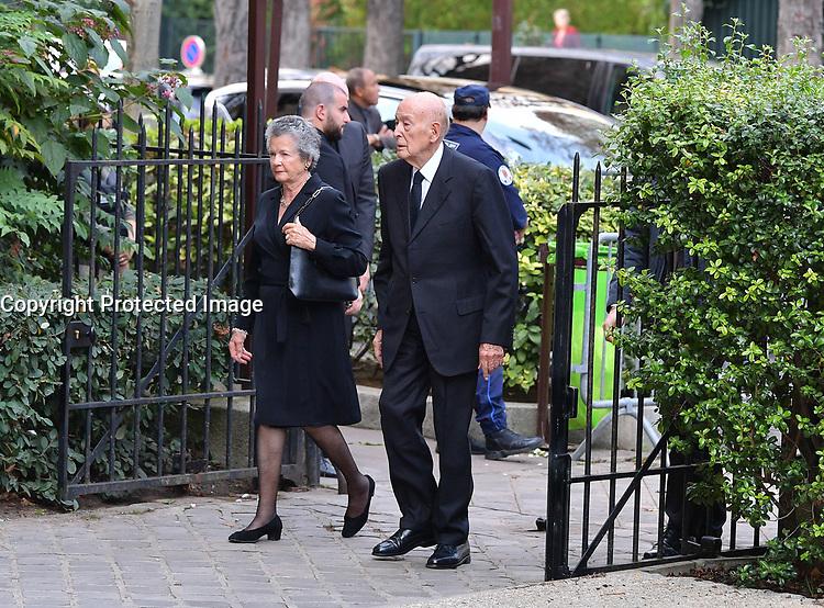 Anne-Aymone et ValÈry Giscard d'Estaing - ObsËques de LILIANE BETTENCOURT - 26/9/2017 - Eglise Saint-Pierre - Neuilly-sur-Seine - France.