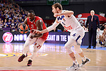 Real Madrid's Andres Nocioni and EA7 Emporio Armani Milan's Rakim Sanders during Turkish Airlines Euroleage match between Real Madrid and EA7 Emporio Armani Milan at Wizink Center in Madrid, Spain. January 27, 2017. (ALTERPHOTOS/BorjaB.Hojas)