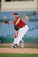 Syracuse Chiefs starting pitcher Austin Voth delivers a pitch during a game against the Buffalo Bisons on September 2, 2018 at NBT Bank Stadium in Syracuse, New York.  Syracuse defeated Buffalo 4-3.  (Mike Janes/Four Seam Images)
