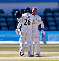 Luke Wood (facing) is congratulated after scoring a hundred for Lancashire by Danny Lamb during Kent CCC vs Lancashire CCC, LV Insurance County Championship Group 3 Cricket at The Spitfire Ground on 23rd April 2021