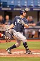 Tampa Bay Rays catcher Maxx Tissenbaum during an Instructional League game against the Boston Red Sox on September 25, 2014 at Tropicana Field in St. Petersburg, Florida.  (Mike Janes/Four Seam Images)