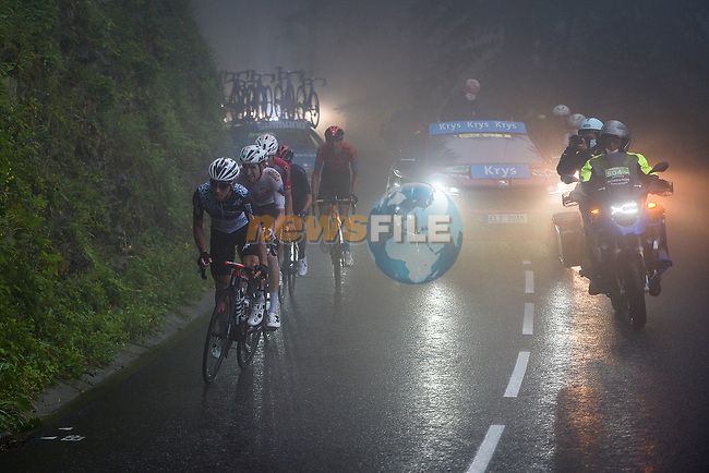 Aurélien Paret Peintre (Fra) AG2R Citroën Team, Sergio Henao Montoya (COL) Qhubeka-NextHash and Dylan Teuns (BEL) Bahrain Victorious in the breakaway during Stage 8 of the 2021 Tour de France, running 150.8km from Oyonnax to Le Grand-Bornand, France. 3rd July 2021.  <br /> Picture: A.S.O./Charly Lopez | Cyclefile<br /> <br /> All photos usage must carry mandatory copyright credit (© Cyclefile | A.S.O./Charly Lopez)
