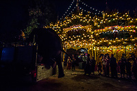 Elephant Pho Khwar gets on a truck to continue his journey with mahout Kalu Say after performing at a Buddhist novitiation ceremony at Sarkalayinn Village. Following the government's ban on raw timber exports, domestic elephant owners started renting out their elephants for festivals and religious ceremonies. Pho Khwar now performs at ceremonies such as Buddhist novitiation, bringing in around 500,000 Kyats per day for his owner. Mahout Kalu Say is paid 5000 Kyats per day, while Pho Khwar, whose market value is around 80 million Kyats, is fed with food worth 50,000 kyats every day.