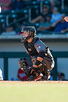 Salt River Rafters catcher Daulton Varsho (8), of the Arizona Diamondbacks organization, during an Arizona Fall League game against the Mesa Solar Sox at Sloan Park on November 9, 2018 in Mesa, Arizona. Mesa defeated Salt River 5-4. (Zachary Lucy/Four Seam Images)