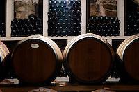 Domaine Cazeneuve in Lauret. Pic St Loup. Languedoc. Barrel cellar. Bottle cellar. France. Europe. Bottle. Bins with bottles.