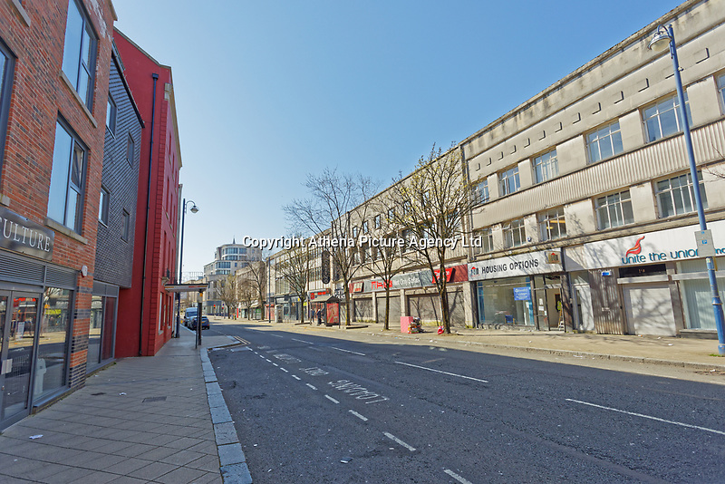 Pictured: The deserted High Street in Swansea, Wales, UK. Thursday 26 March 2020<br /> Re: Covid-19 Coronavirus pandemic, UK.