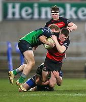 Friday 6th March 2020 | Armagh RFC vs Ballynahinch RFC<br /> <br /> Shea O'Brien is tackled by Ross Adair and Paddy Wright during the Bank Of Ireland Ulster Senior Cup Final between the City of Armagh RFC and Ballynahinch RFC at Kingspan Stadium, Ravenhill Park, Belfast, Northern Ireland. Photo by John Dickson / DICKSONDIGITAL