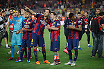 Barcelona´s Sergio Busquets, Leo Messi and Neymar Jr celebrate after winning the 2014-15 Copa del Rey final match against Athletic de Bilbao at Camp Nou stadium in Barcelona, Spain. May 30, 2015. (ALTERPHOTOS/Victor Blanco)