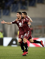 Calcio, Serie A: Roma, stadio Olimpico, 11 dicembre 2017.<br /> Torino's Tomas Rincon (r) celebrates after scoring with his teammate Mirko Valdifiori (l) during the Italian Serie A football match between Lazio and Torino at Rome's Olympic stadium, December 11, 2017.<br /> UPDATE IMAGES PRESS/Isabella Bonotto