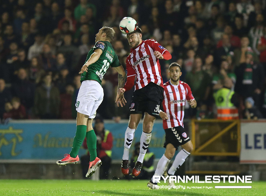 2017 SSE Airtricity League Premier Division,<br /> Cork City vs Derry City,<br /> Tuesday 17th October 2017,<br /> Turners Cross, Cork.<br /> Karl Sheppard with Aaron Barry of Derry.<br /> Photo By: Michael P Ryan