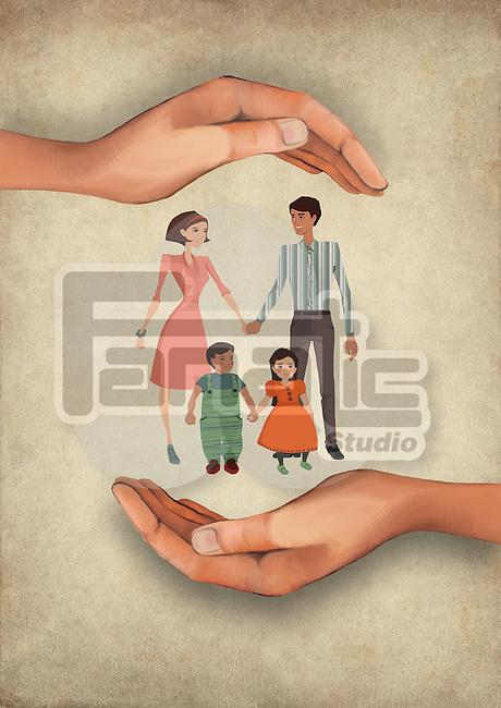 Illustrative image of human hands shielding family representing insurance