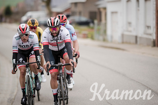 Fernando Gaviria (COL/UAE-Emirates) escaped from the peloton with a few others<br /> <br /> 43rd Driedaagse Brugge-De Panne 2019 <br /> One day race (1.UWT) from Brugge to De Panne BEL (200km)<br /> <br /> ©kramon