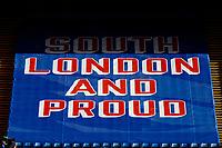 5th September 2020; Selhurst Park, London, England; Pre Season Friendly Football, Crystal Palace versus Brondby; Giant South London and Proud banner inside Selhurst Park