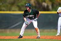 Dartmouth Big Green right fielder Kyle Holbrook (9) leads off second base during a game against the Eastern Michigan Eagles on February 25, 2017 at North Charlotte Regional Park in Port Charlotte, Florida.  Dartmouth defeated Eastern Michigan 8-4.  (Mike Janes/Four Seam Images)