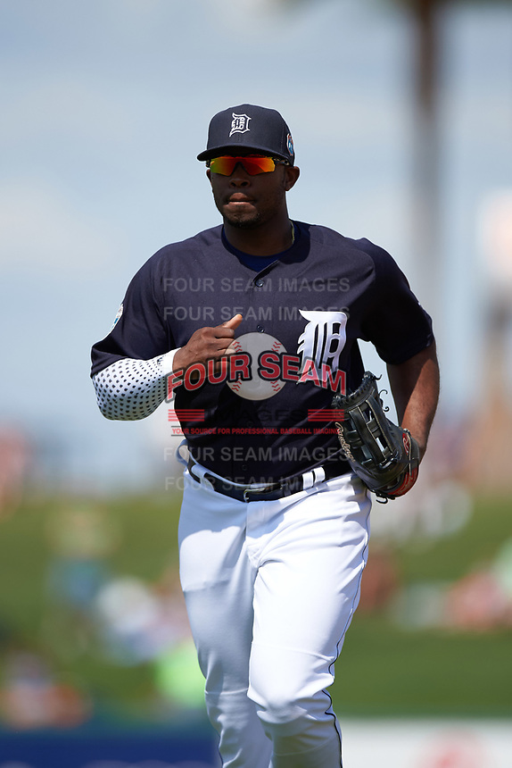 Detroit Tigers left fielder Justin Upton (8) jogs to the dugout during an exhibition game against the Florida Southern Moccasins on February 29, 2016 at Joker Marchant Stadium in Lakeland, Florida.  Detroit defeated Florida Southern 7-2.  (Mike Janes/Four Seam Images)