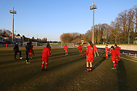 Woluwe players pictured during the warm up before a female soccer game between FC Femina White Star Woluwe and KRC Genk on the third matchday of play off 2 in the 2020 - 2021 season of Belgian Scooore Womens Super League , Friday 23 th of April 2021  in Woluwe , Belgium . PHOTO SPORTPIX.BE | SPP | SEVIL OKTEM