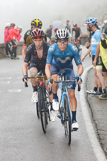 Miguel Angel Lopez Moreno (COL) Movistar Team and Adam Yates (GBR) Ineos Grenadiers on the final climb during Stage 17 of La Vuelta d'Espana 2021, running 185.8km from Unquera to Lagos de Covadonga, Spain. 1st September 2021.    <br /> Picture: Luis Angel Gomez/Photogomezsport | Cyclefile<br /> <br /> All photos usage must carry mandatory copyright credit (© Cyclefile | Luis Angel Gomez/Photogomezsport)