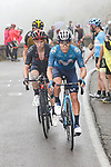 Miguel Angel Lopez Moreno (COL) Movistar Team and Adam Yates (GBR) Ineos Grenadiers on the final climb during Stage 17 of La Vuelta d'Espana 2021, running 185.8km from Unquera to Lagos de Covadonga, Spain. 1st September 2021.    <br /> Picture: Luis Angel Gomez/Photogomezsport   Cyclefile<br /> <br /> All photos usage must carry mandatory copyright credit (© Cyclefile   Luis Angel Gomez/Photogomezsport)