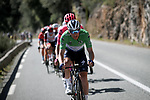 Green Jersey Sam Bennett (IRL) Deceuninck-Quick Step leads the breakaway for most of Stage 7 of Paris-Nice 2021, running 119.2km from Le Broc to Valdeblore La Colmiane, France. 13th March 2021.<br /> Picture: ASO/Fabien Boukla | Cyclefile<br /> <br /> All photos usage must carry mandatory copyright credit (© Cyclefile | ASO/Fabien Boukla)