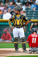 Juan Graterol (34) of the Salt Lake Bees during the game against the Tacoma Rainiers in Pacific Coast League action at Smith's Ballpark on June 14, 2016 in Salt Lake City, Utah. The Bees defeated the Rainiers 9-4.  (Stephen Smith/Four Seam Images)