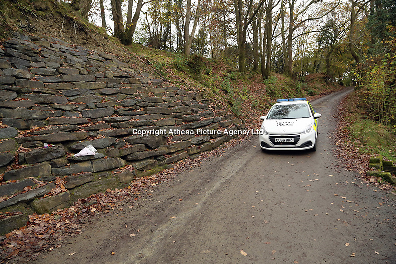 Pictured: Police at the entrance to the property in Llangammarch Wells, Powys, Wales, UK. Tuesday 31 October 2017<br /> Re: Investigations continue into a house fire in which a father and several of his children have died.<br /> Three children aged 13, 12 and 10 escaped the farmhouse in Llangammarch Wells, Powys, in the early hours of Monday and raised the alarm.<br /> Police said they could not identify the deceased or confirm numbers.<br /> One of those missing has been named locally as David Cuthbertson.