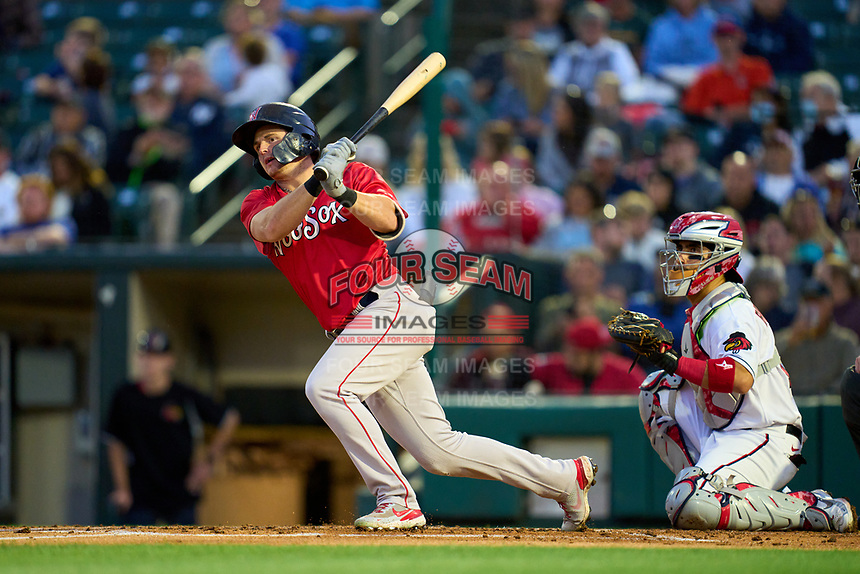 Worcester Red Sox Tate Matheny (35) hits a double during a game against the Rochester Red Wings on September 3, 2021 at Frontier Field in Rochester, New York.  (Mike Janes/Four Seam Images)