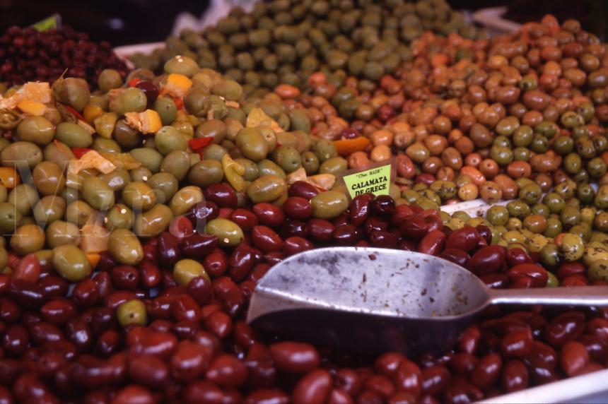 Detail of assorted olives in village market, Provence, France