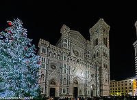 Italy, Florence  night view of Santa Maria del Fiore.