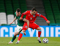 27th March 2021; Aviva Stadium, Dublin, Leinster, Ireland; 2022 World Cup Qualifier, Ireland versus Luxembourg; Danel Sinani (Luxembourg) holds off a challenge from Jason Knight(Republic of Ireland)