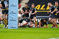 22nd November 2020; Ricoh Arena, Coventry, West Midlands, England; English Premiership Rugby, Wasps versus Bristol Bears; Harry Randall of Bristol scores a try in the 51st minute