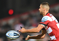 24th September 2021;  Kingsholm Stadium, Gloucester, England; Gallaher Premiership Rugby, Gloucester Rugby versus Leicester Tigers: Adam Hastings of Gloucester passes