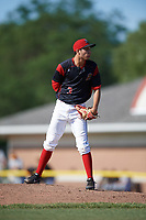 Batavia Muckdogs relief pitcher Kenny Koplove (3) looks in for the sign during a game against the West Virginia Black Bears on June 25, 2017 at Dwyer Stadium in Batavia, New York.  Batavia defeated West Virginia 4-1 in nine innings of a scheduled seven inning game.  (Mike Janes/Four Seam Images)