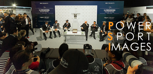Marco Kutscher riding Van Gogh, Kevin Staut riding For Joy van't Zorgvliet HDC and Emanuele Gaudiano riding Caspar 232 attend a press conference after Kutscher,s victory  at the Longines Grand Prix, part of the Longines Masters of Hong Kong on 21 February 2016 at the Asia World Expo in Hong Kong, China. Photo by Moses Ng / Power Sport Images