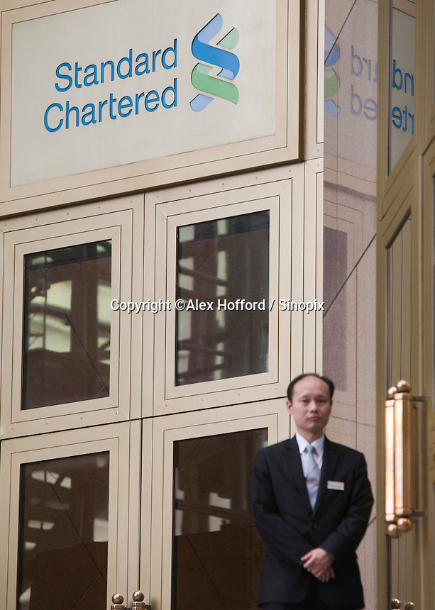 An exterior shot of the Standard Chartered Bank, Central district, Hong Kong, China, 28 April 2014.