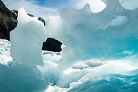 Spectacular blue ice formations on Franz Josef Glacier, Westland Tai Poutini National Park, UNESCO World Heritage Area, West Coast, New Zealand, NZ