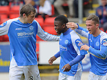 St Johnstone v Motherwell.....19.05.13      SPL.Nigel Hasselbaink celebrates his goal with Murray Davidson and Chris Millar.Picture by Graeme Hart..Copyright Perthshire Picture Agency.Tel: 01738 623350  Mobile: 07990 594431