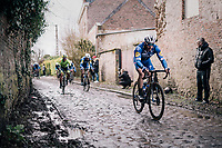 eventual winner Florian SÉNÉCHAL (FRA/Deceuninck-Quick Step) over the roughest (and wet!) cobbles<br /> <br /> 51th Le Samyn 2019 <br /> Quaregnon to Dour (BEL): 200km<br /> <br /> ©kramon