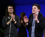 "Alex Boniello with Andrew Barth Feldman takes his final ""Dear Evan Hansen"" bows and ""Passes the Polo"" to Jordan Fisher at the Music Box Theatre on January 26, 2020 in New York City."