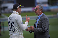 England captain Joe Root chats with Sky TV's David Lloyd at the end of day four of the international cricket 2nd test match between NZ Black Caps and England at Seddon Park in Hamilton, New Zealand on Friday, 22 November 2019. Photo: Dave Lintott / lintottphoto.co.nz