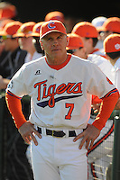 Head coach Jack Leggett of the Clemson Tigers in a game against the William & Mary Tribe on Opening Day, Friday, February 15, 2013, at Doug Kingsmore Stadium in Clemson, South Carolina. Clemson won, 2-0. (Tom Priddy/Four Seam Images)