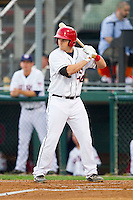 Craig Manuel (14) of the Hagerstown Suns at bat against the Delmarva Shorebirds at Municipal Stadium on April 11, 2013 in Hagerstown, Maryland.  The Shorebirds defeated the Suns 7-4 in 10 innings.  (Brian Westerholt/Four Seam Images)