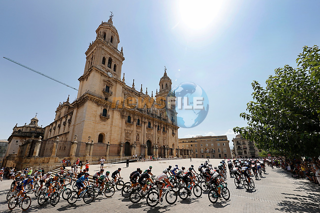 The start of Stage 12 of La Vuelta d'Espana 2021, running 175km from Jaén to Córdoba, Spain. 26th August 2021.     <br /> Picture: Luis Angel Gomez/Photogomezsport | Cyclefile<br /> <br /> All photos usage must carry mandatory copyright credit (© Cyclefile | Luis Angel Gomez/Photogomezsport)