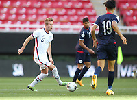 ZAPOPAN, MEXICO - MARCH 21: Jackson Yueill #6 of the United States holds the ball during a game between Dominican Republic and USMNT U-23 at Estadio Akron on March 21, 2021 in Zapopan, Mexico.
