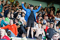 LEEDS, ENGLAND - AUGUST 31: Swansea supporters celebrate their team's win during the Sky Bet Championship match between Leeds United and Swansea City at Elland Road on August 31, 2019 in Leeds, England. (Photo by Athena Pictures/Getty Images)